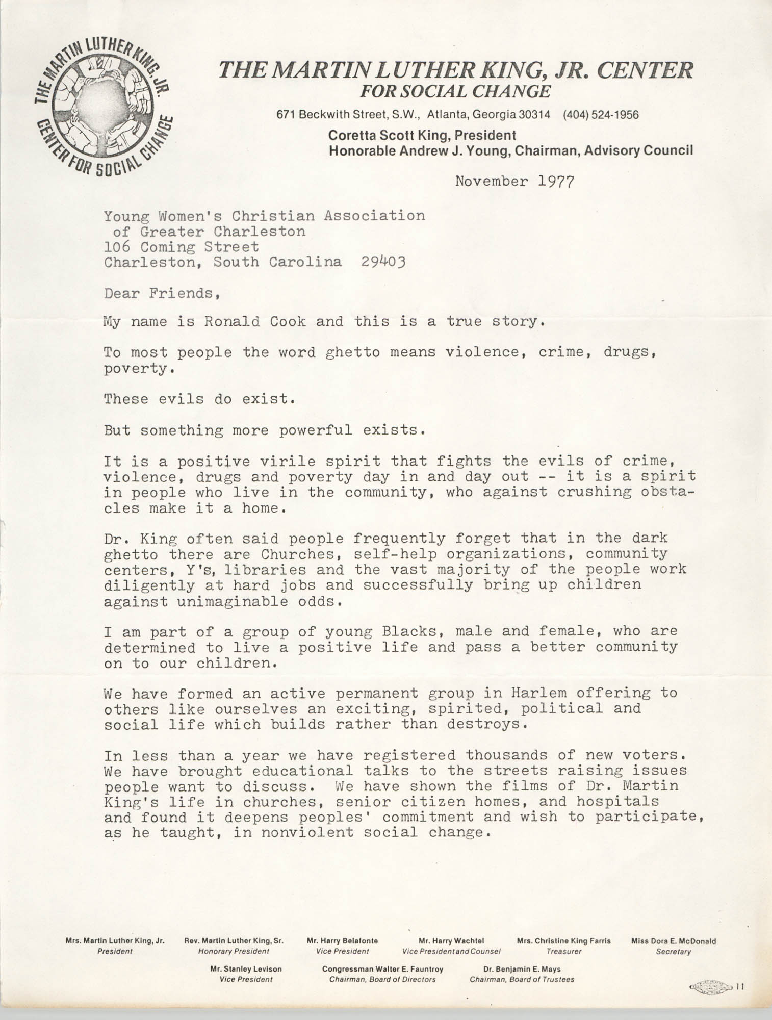 Letter from Ronald Cook and Coretta Scott King to Y.W.C.A. of Greater Charleston, November 1977