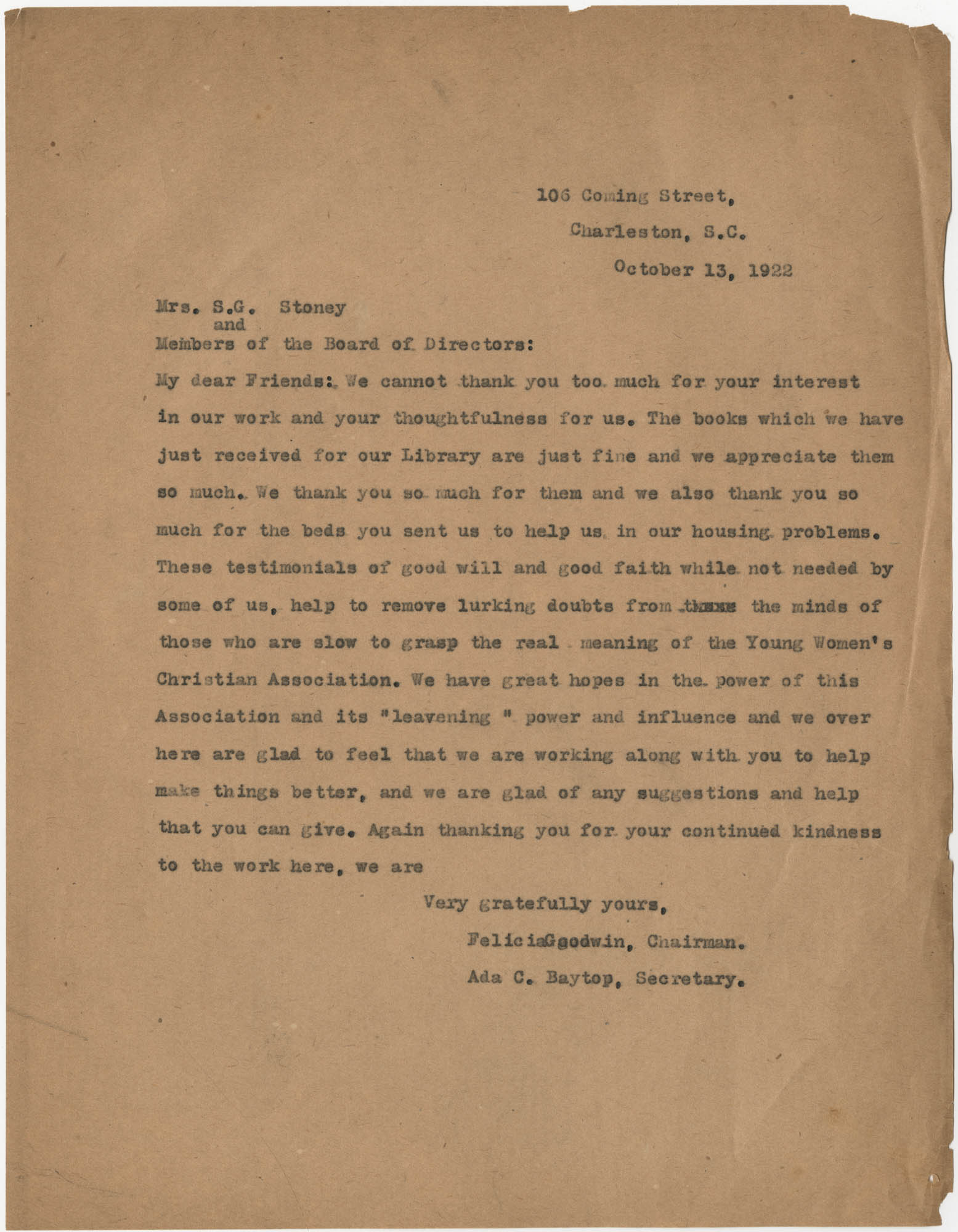 Letter from Felicia Goodwin and Ada C. Baytop to S. G. Stoney, October 13, 1922