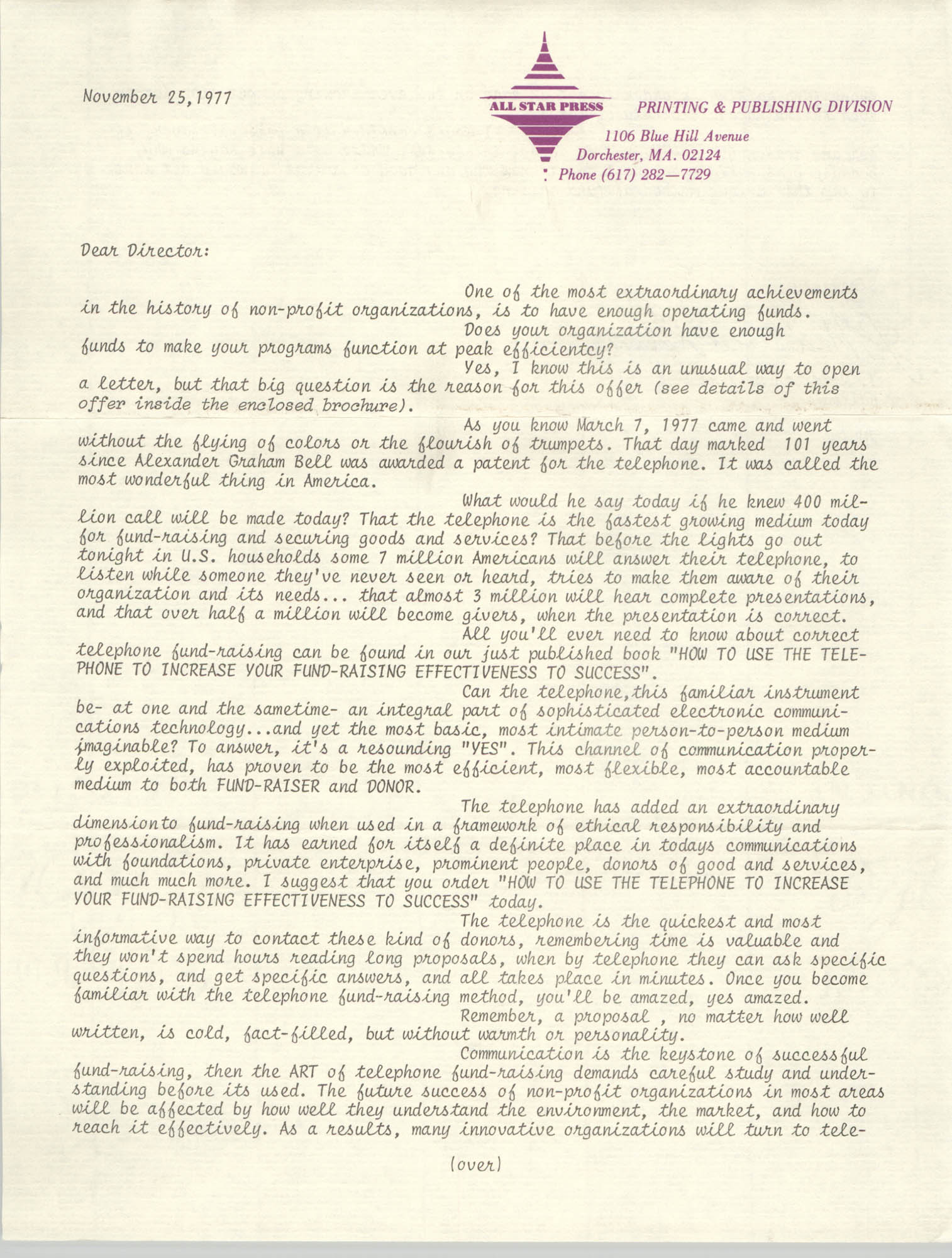 Letter from J. Maddison Masters, November 25, 1977
