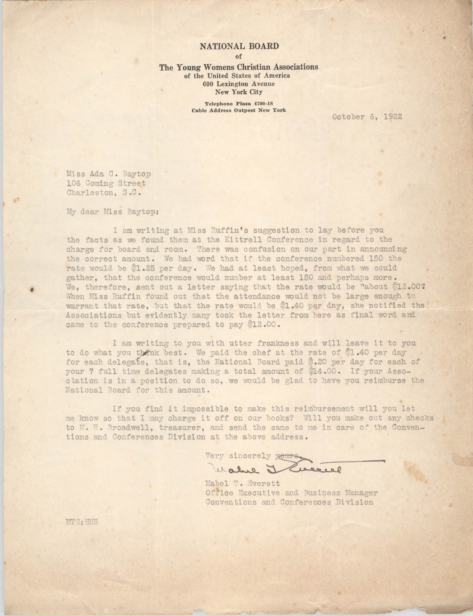 Letter from Madel T. Everett to Ada C. Baytop, October 6, 1922