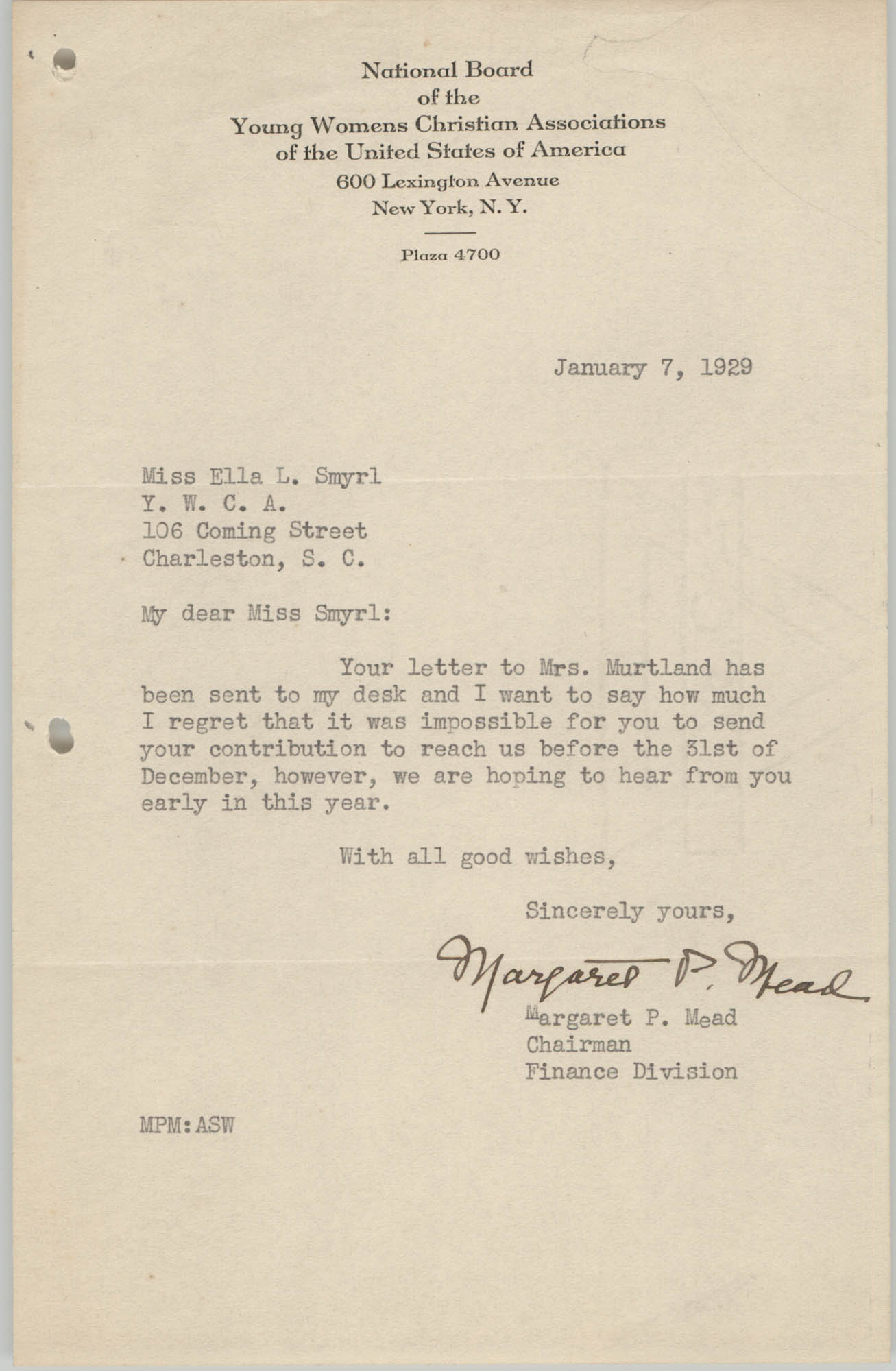 Letter from Margaret P. Mead to Ella L. Smyrl, January 7, 1929