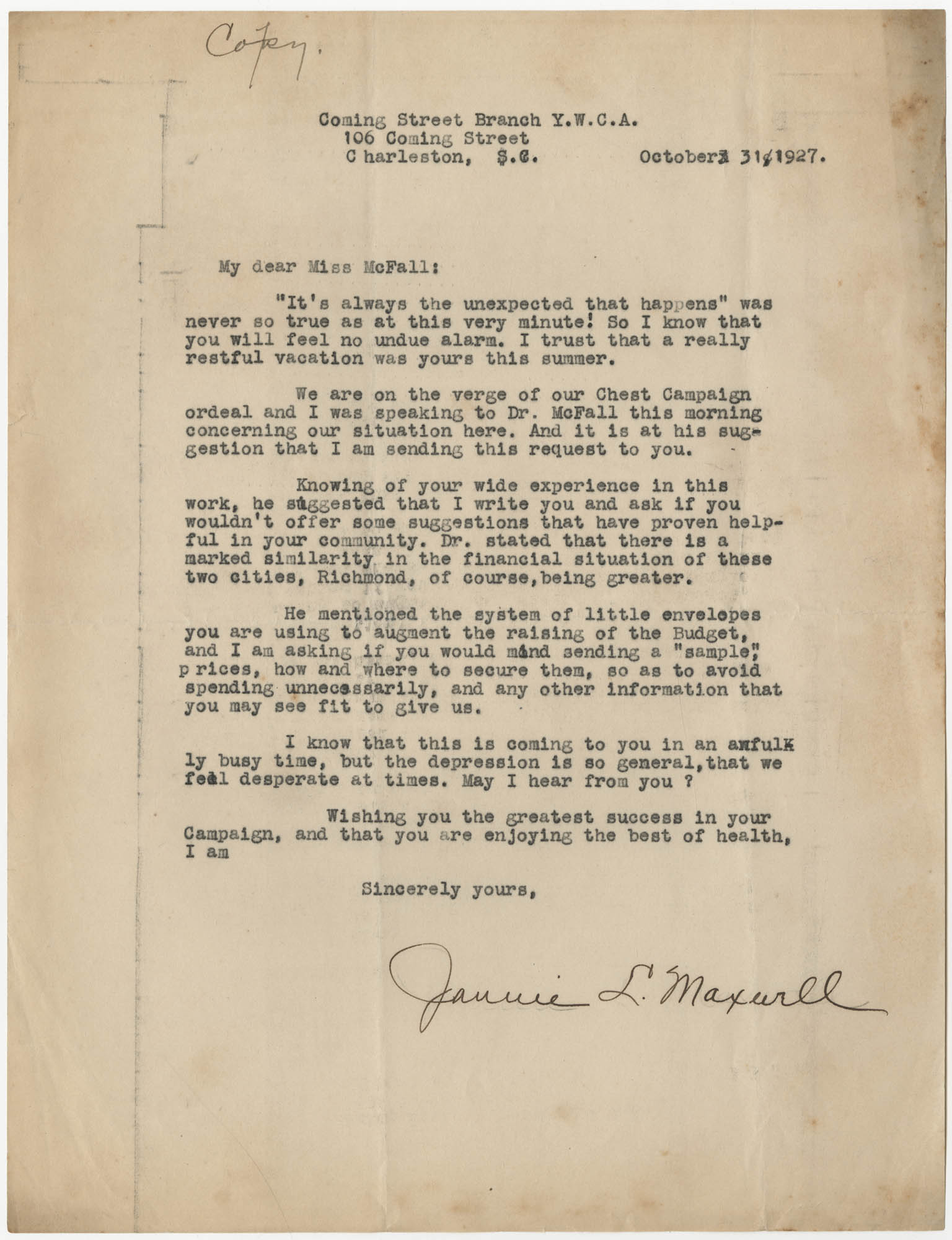 Letter from Jannie L. Maxwell to