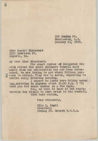Letter from Ella L. Smyrl to Rupert Blanchard, January 21, 1929