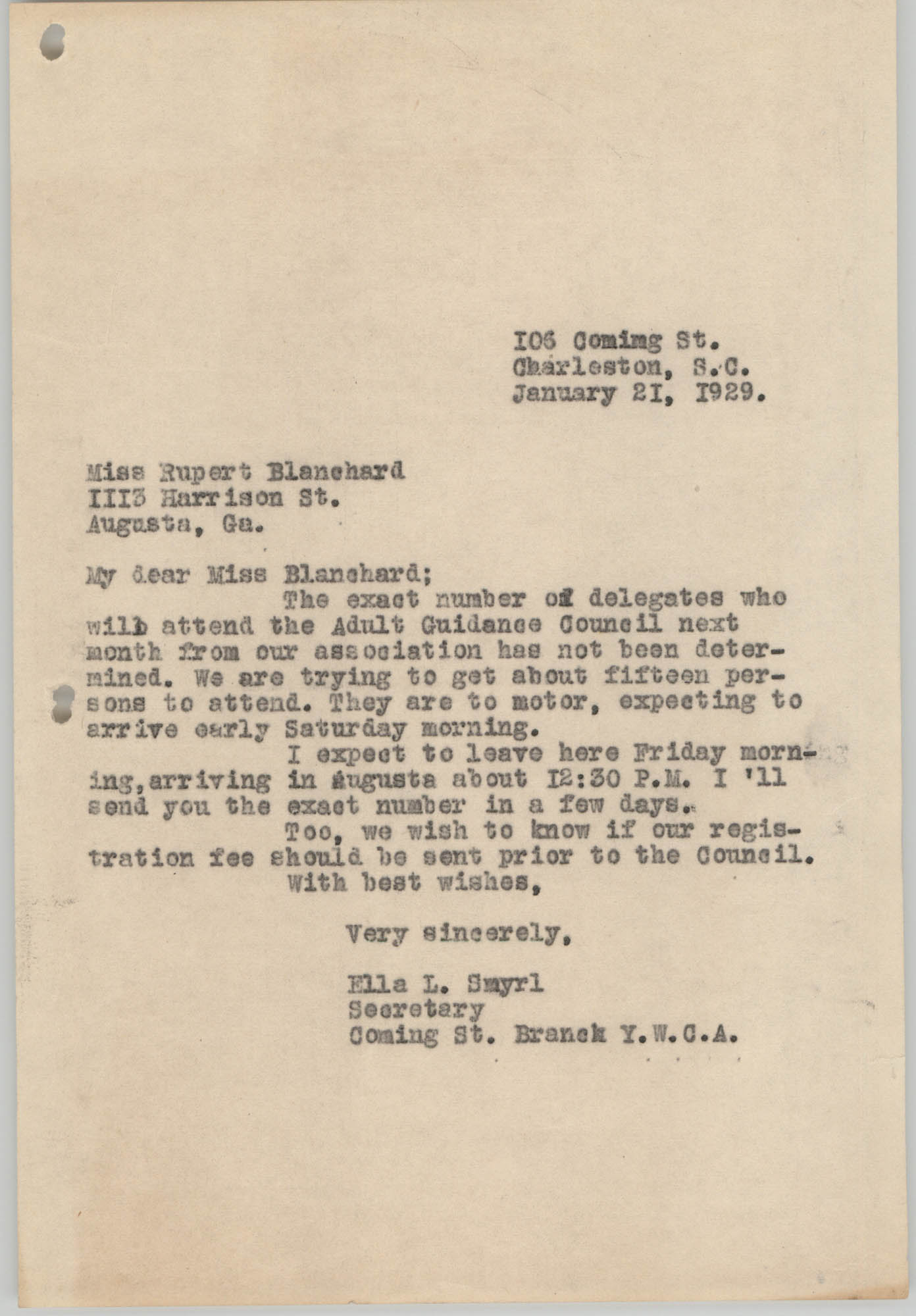 Letter from Ella L. Smyrl to Rupert Blanchard, January 21, 1929