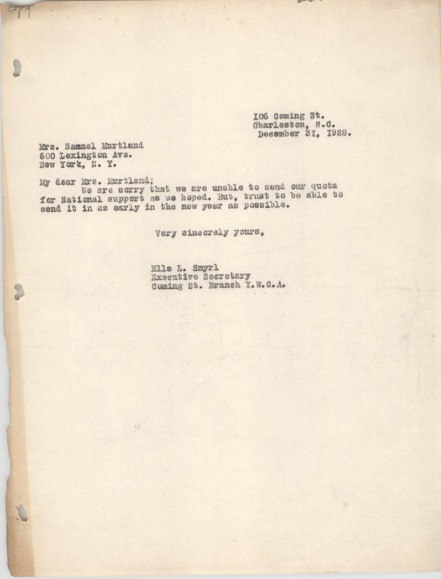 Letter from Ella L. Smyrl to Samuel Murtland, December 31, 1928