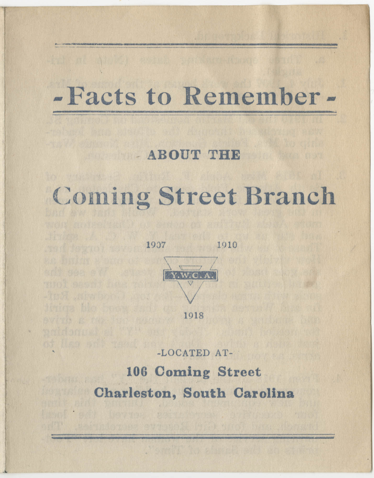 Facts to Remember About The Coming Street Branch, Y.W.C.A.