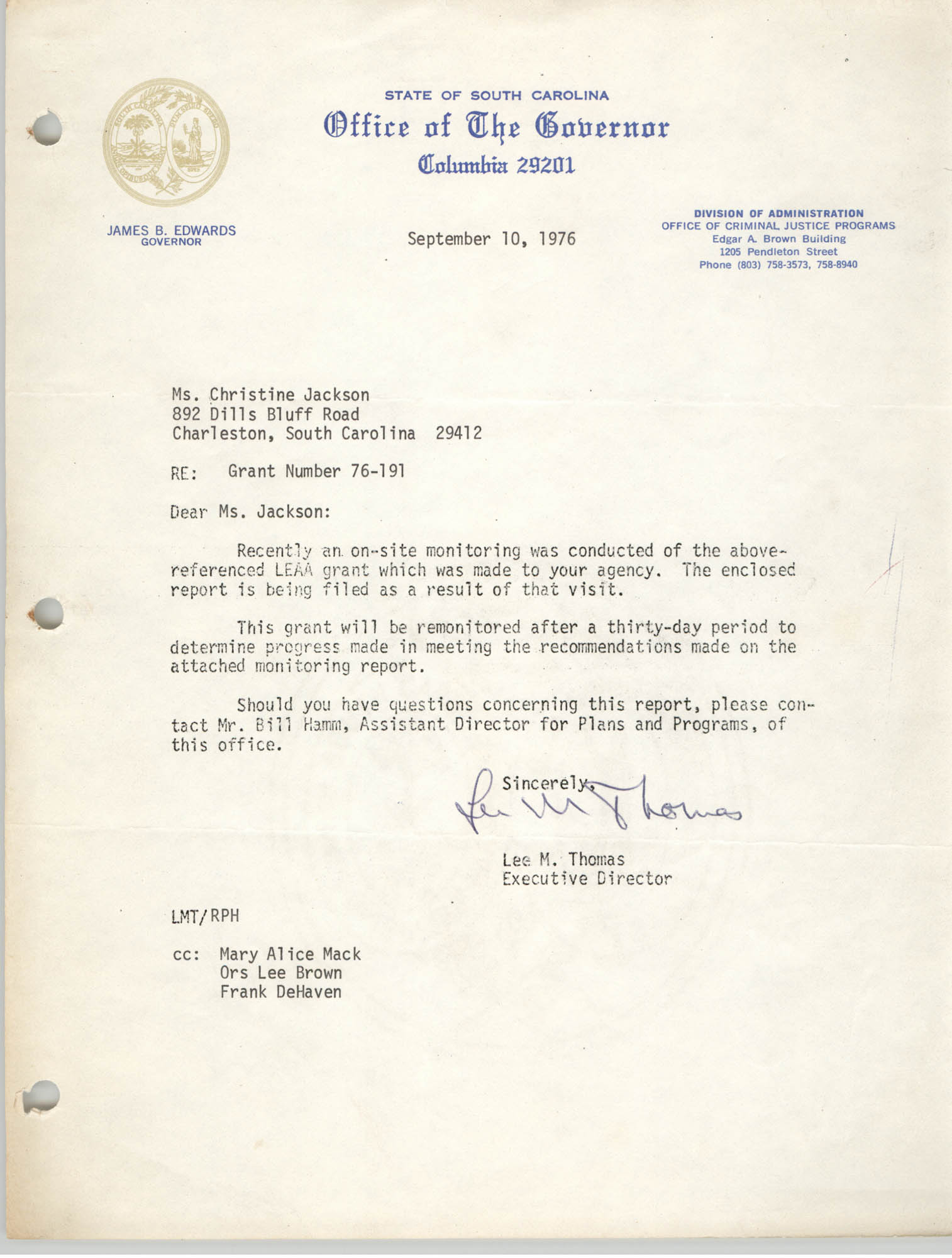 Letter from Lee M. Thomas to Christine Jackson, September 10, 1976
