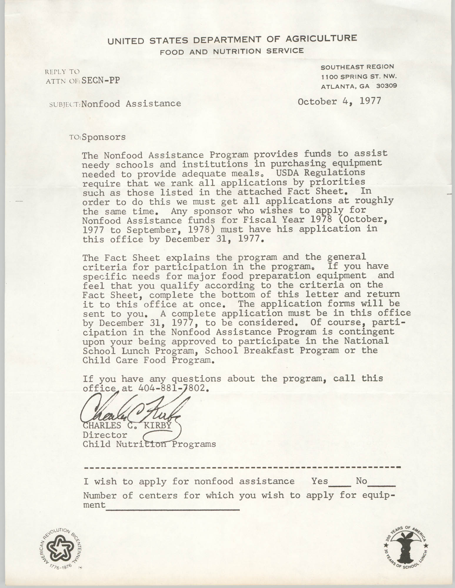 Letter from Charles C. Kirby, October 4, 1977