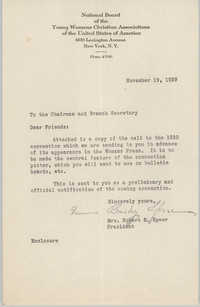 Letter from Robert E. Speer to National Board of the Y.W.C.A., November 19, 1929