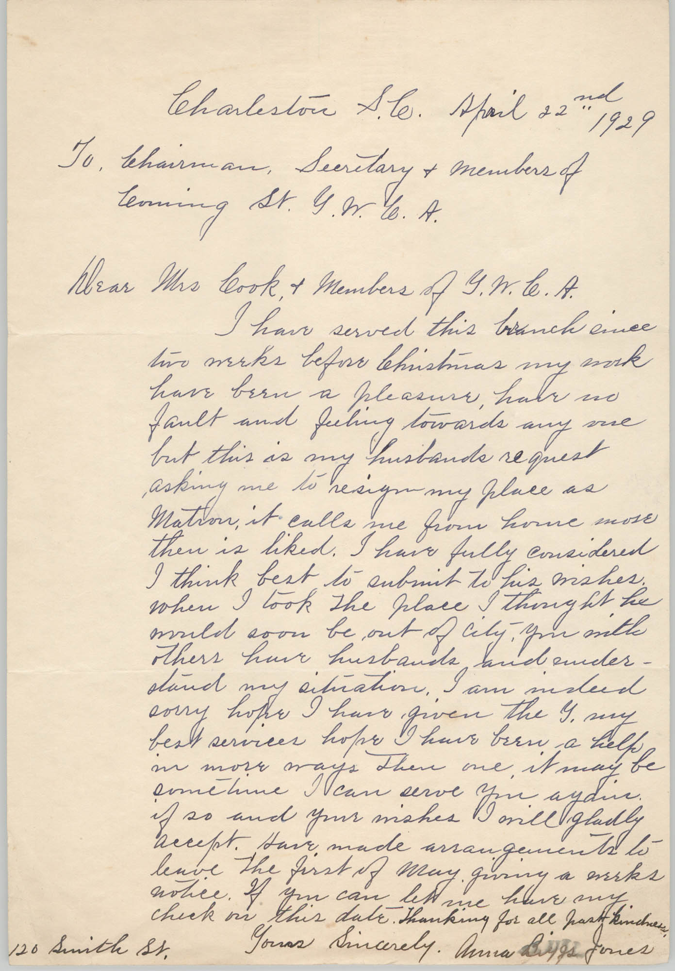 Letter from Anna Biggs Jones to Coming Street Y.W.C.A., April 22, 1929