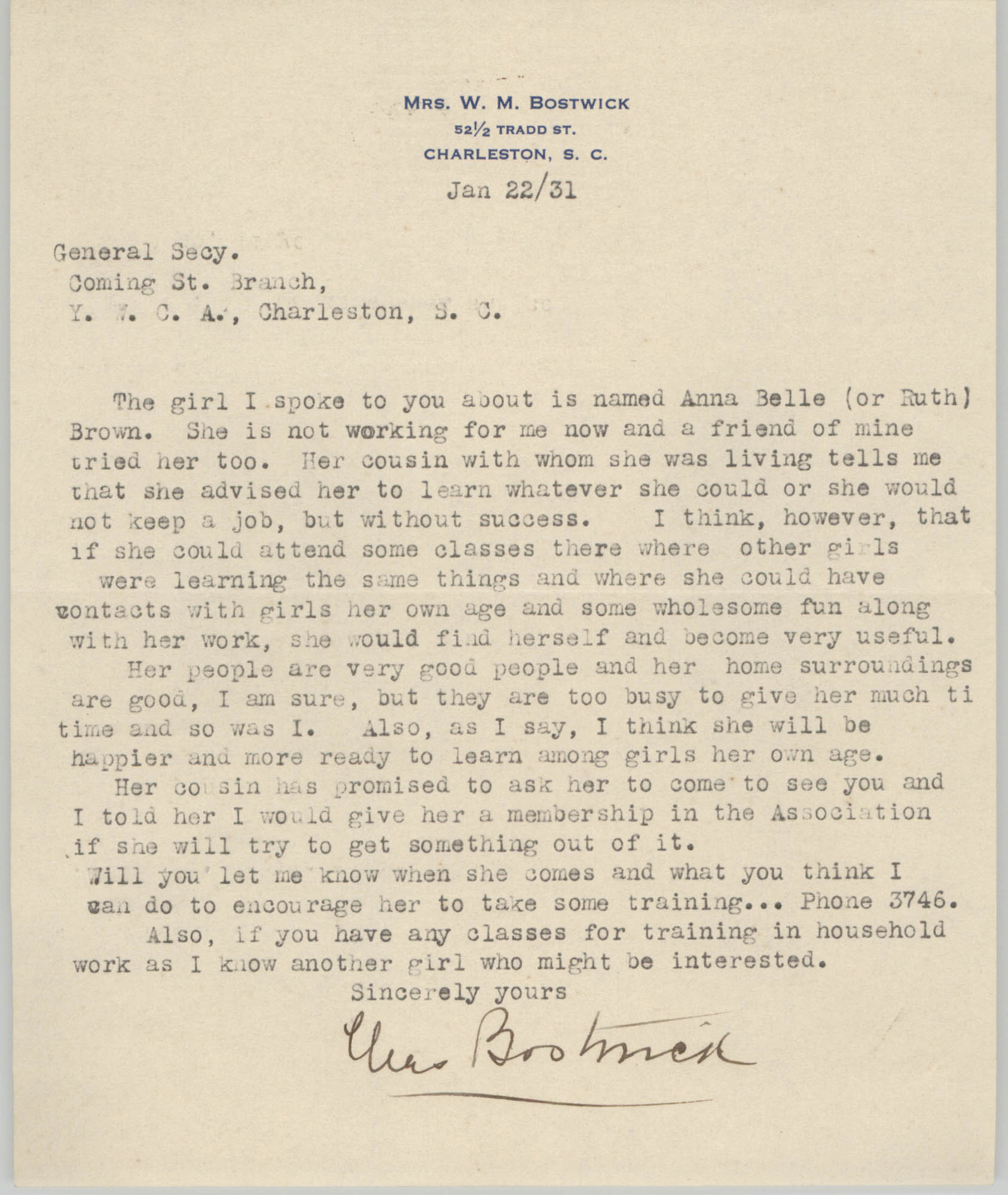 Letter from W. M. Bostwick to General Secretary for the Coming Street Y.W.C.A., January 22, 1931