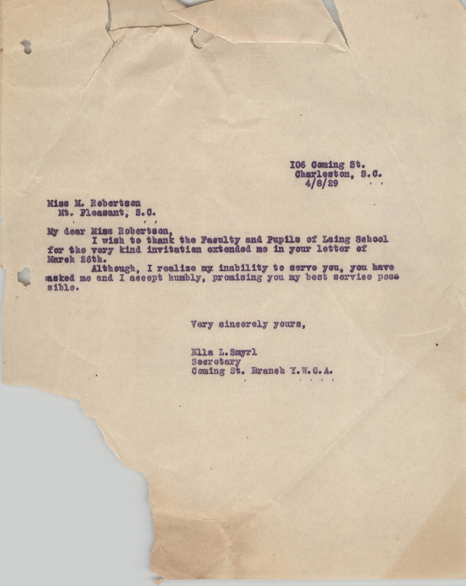 Letter from Ella L. Smyrl to M. Robertson, April 8, 1929