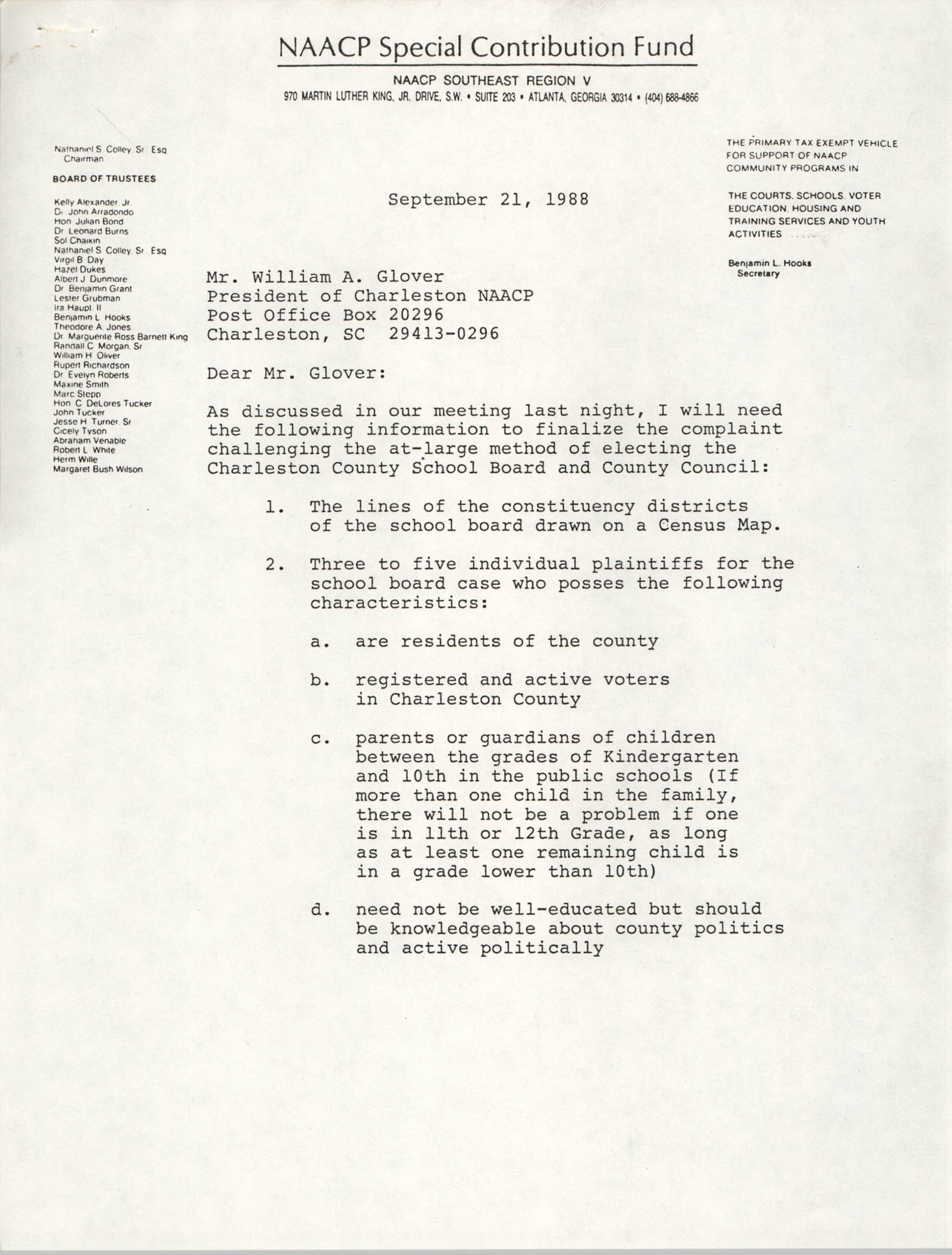 Letter  from Paula E. Bonds to William A. Glover, September 21, 1988