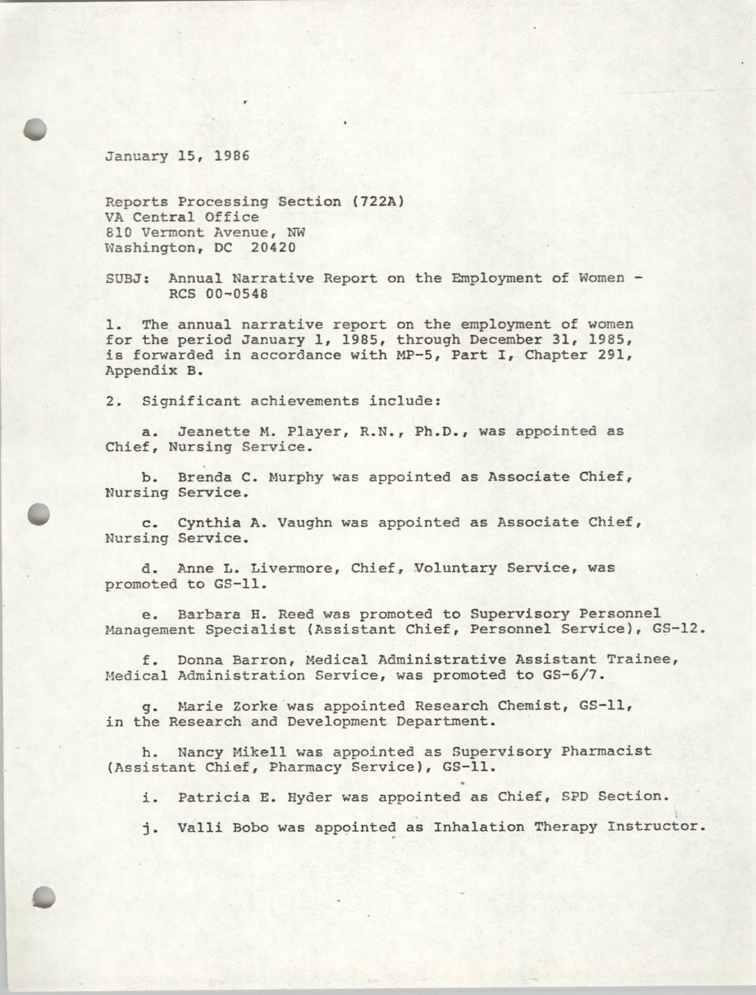 Annual Narrative Report on the Employment of Women, Veterans Administration, January 15, 1986