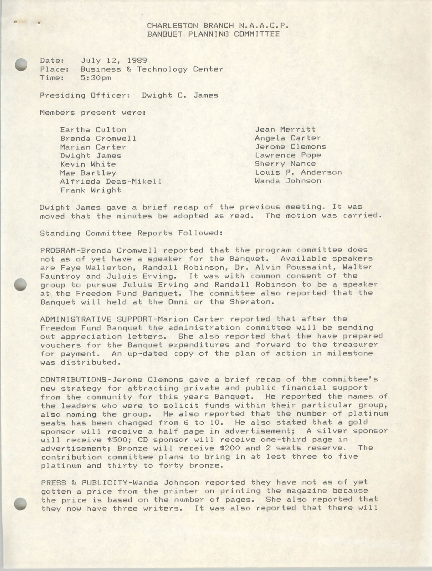 Minutes, Banquet Planning Committee, Charleston Branch of the NAACP, Sheryl Wilborn, July 12, 1989
