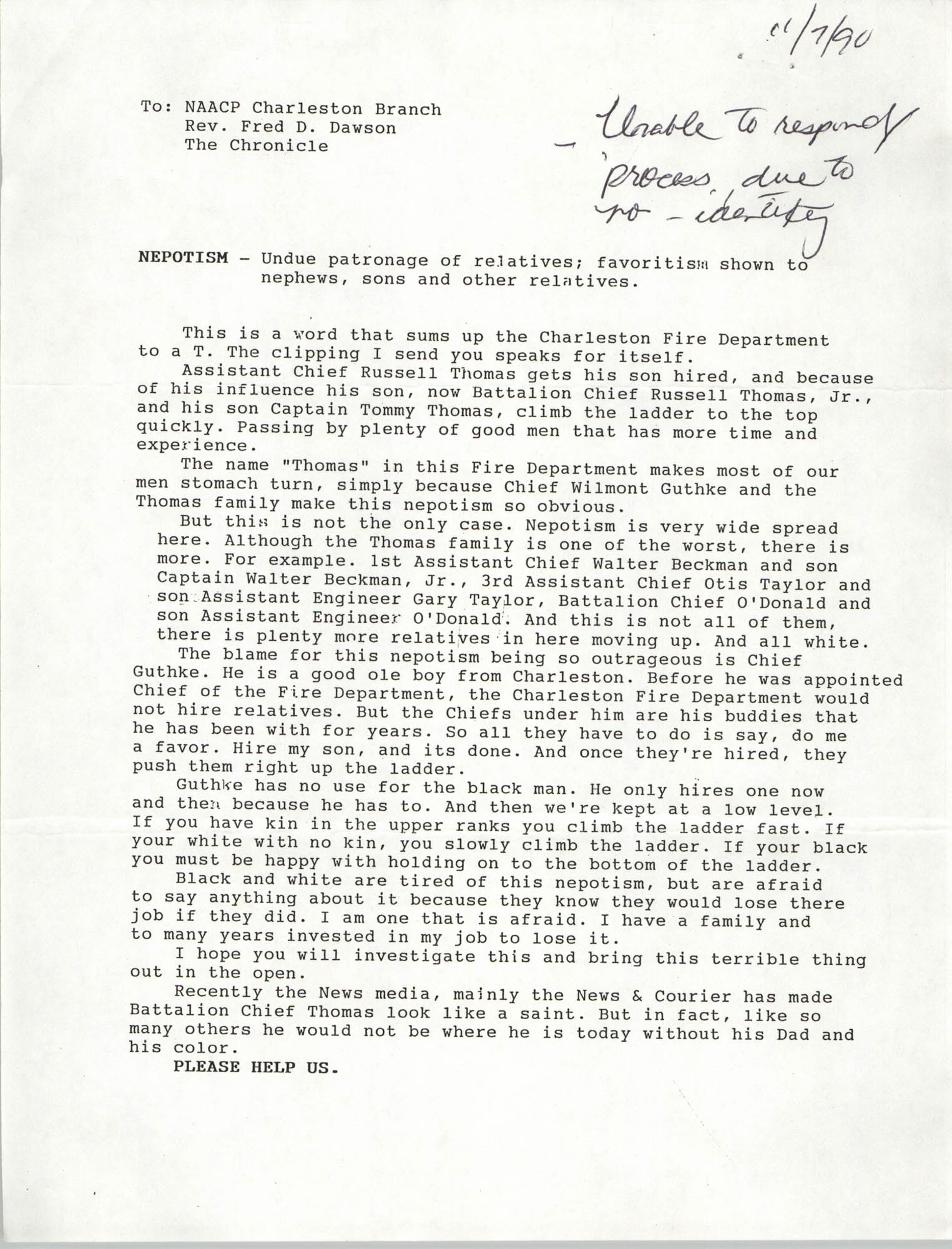 Letter from anonymous to Fred D. Dawson, November 7, 1990