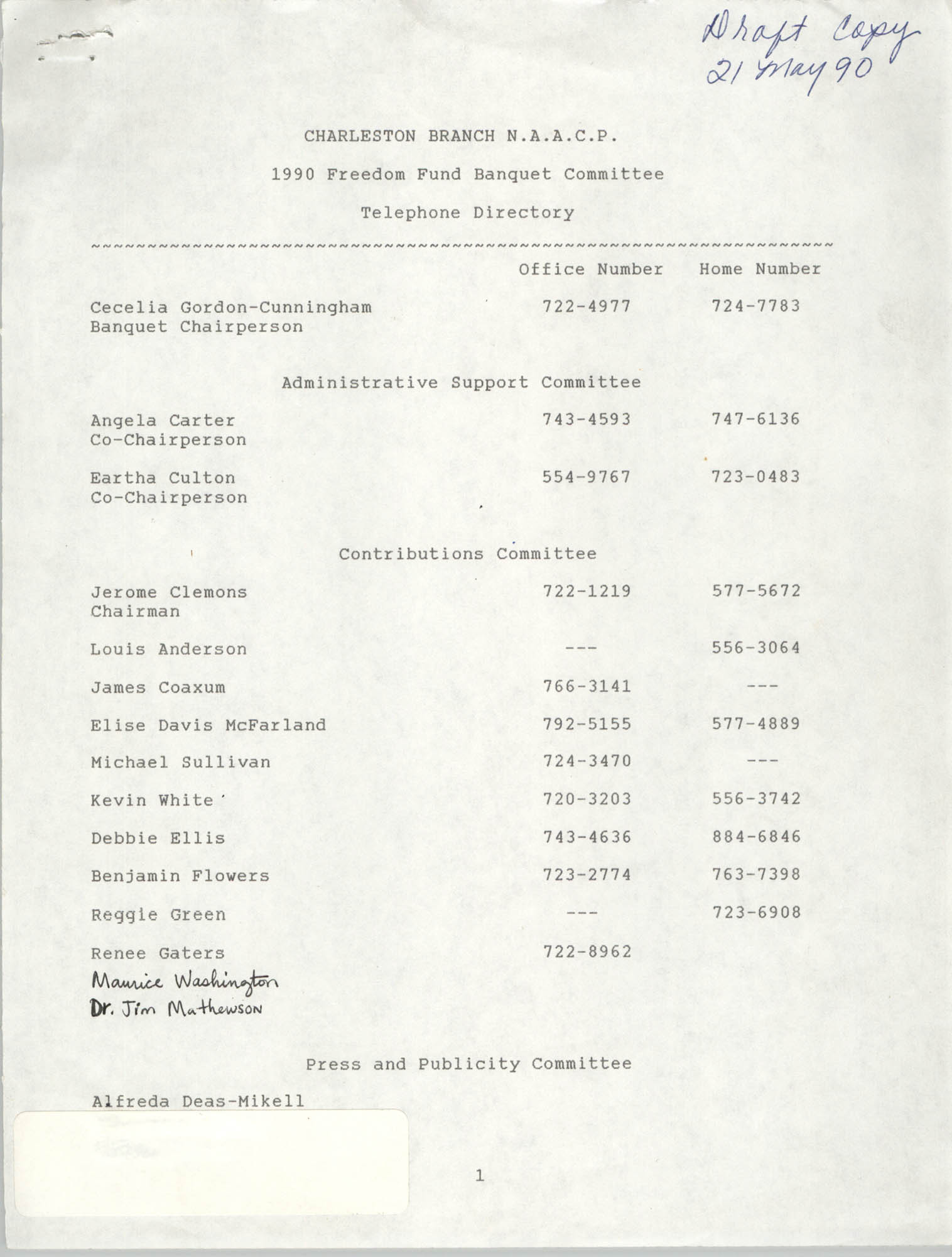 Draft, Telephone Directory, 1990 Freedom Fund Banquet Committee, Charleston Branch of the NAACP, May 21, 1990