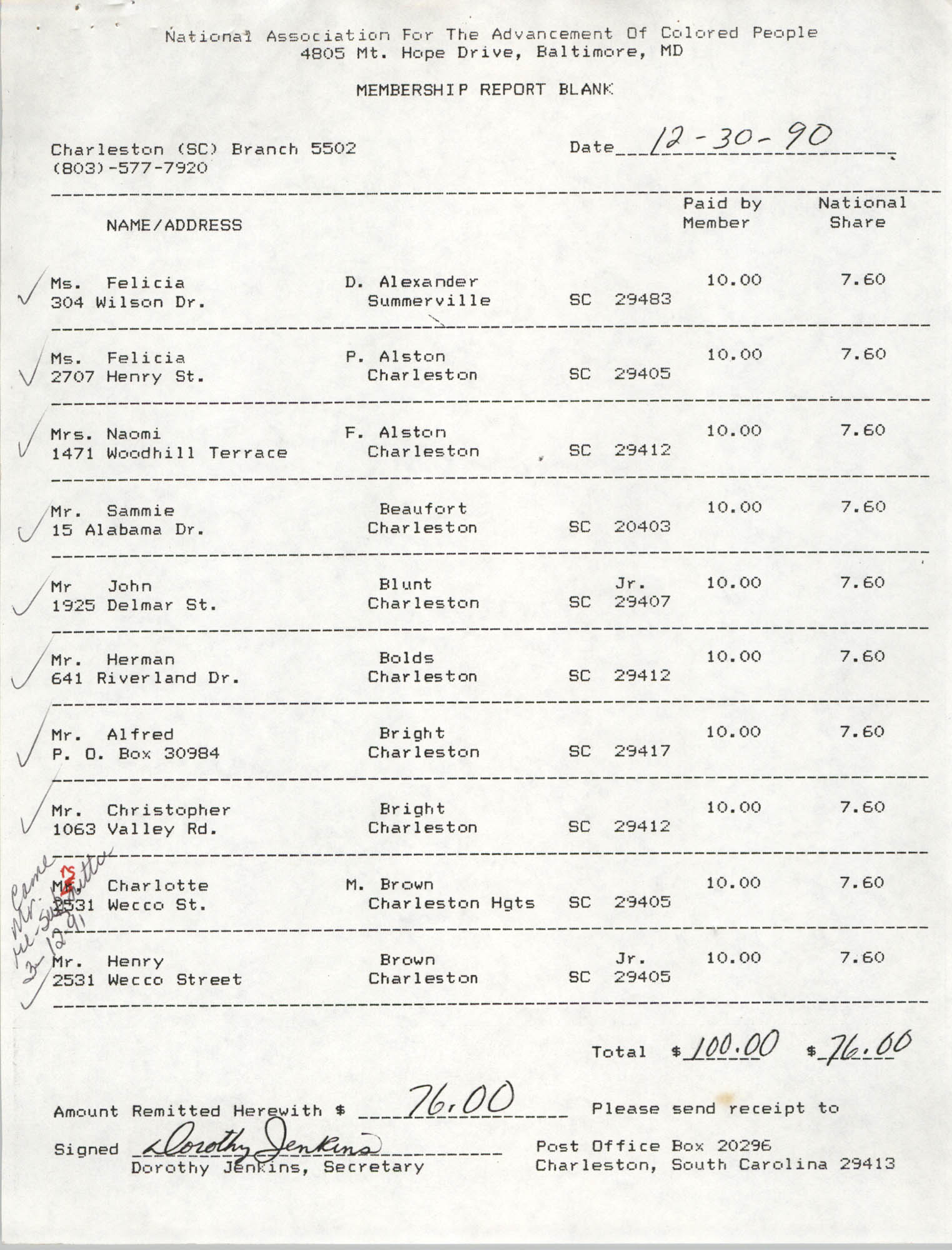 Membership Report Blank, Charleston Branch of the NAACP, Dorothy Jenkins, December 30, 1990
