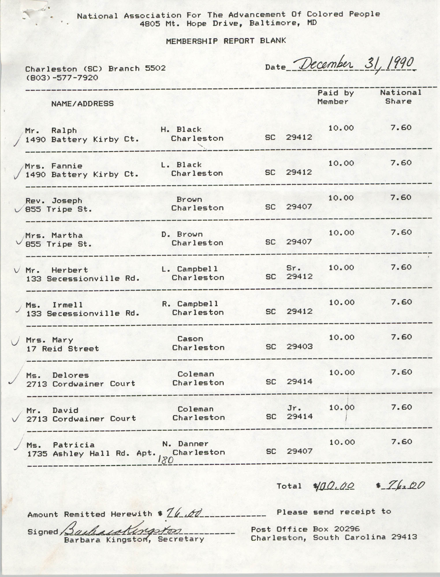 Membership Report Blank, Charleston Branch of the NAACP, Barbara Kingston, December 31, 1990