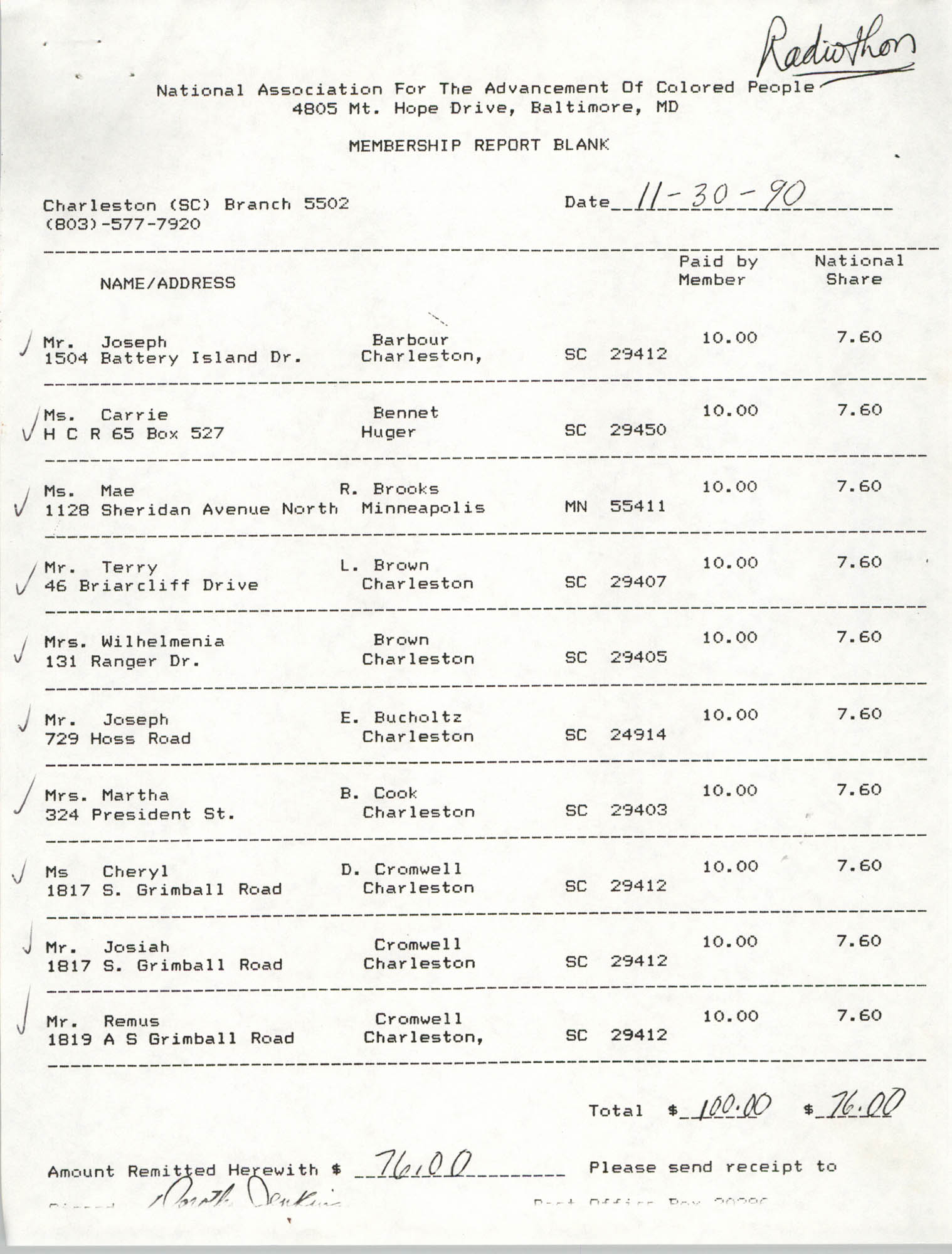 Membership Report Blank, Charleston Branch of the NAACP, Dorothy Jenkins, November 30, 1990