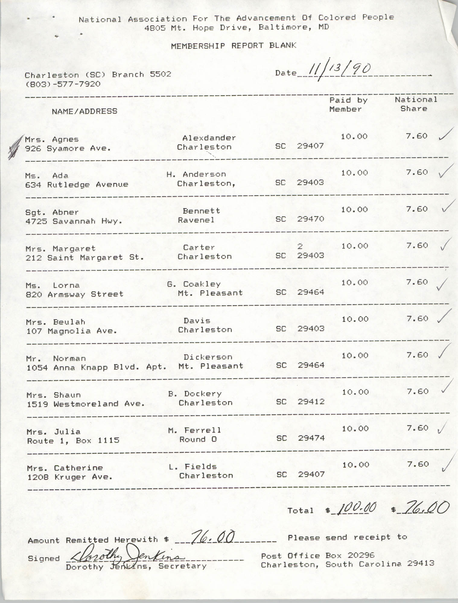 Membership Report Blank, Charleston Branch of the NAACP, Dorothy Jenkins, November 13, 1990