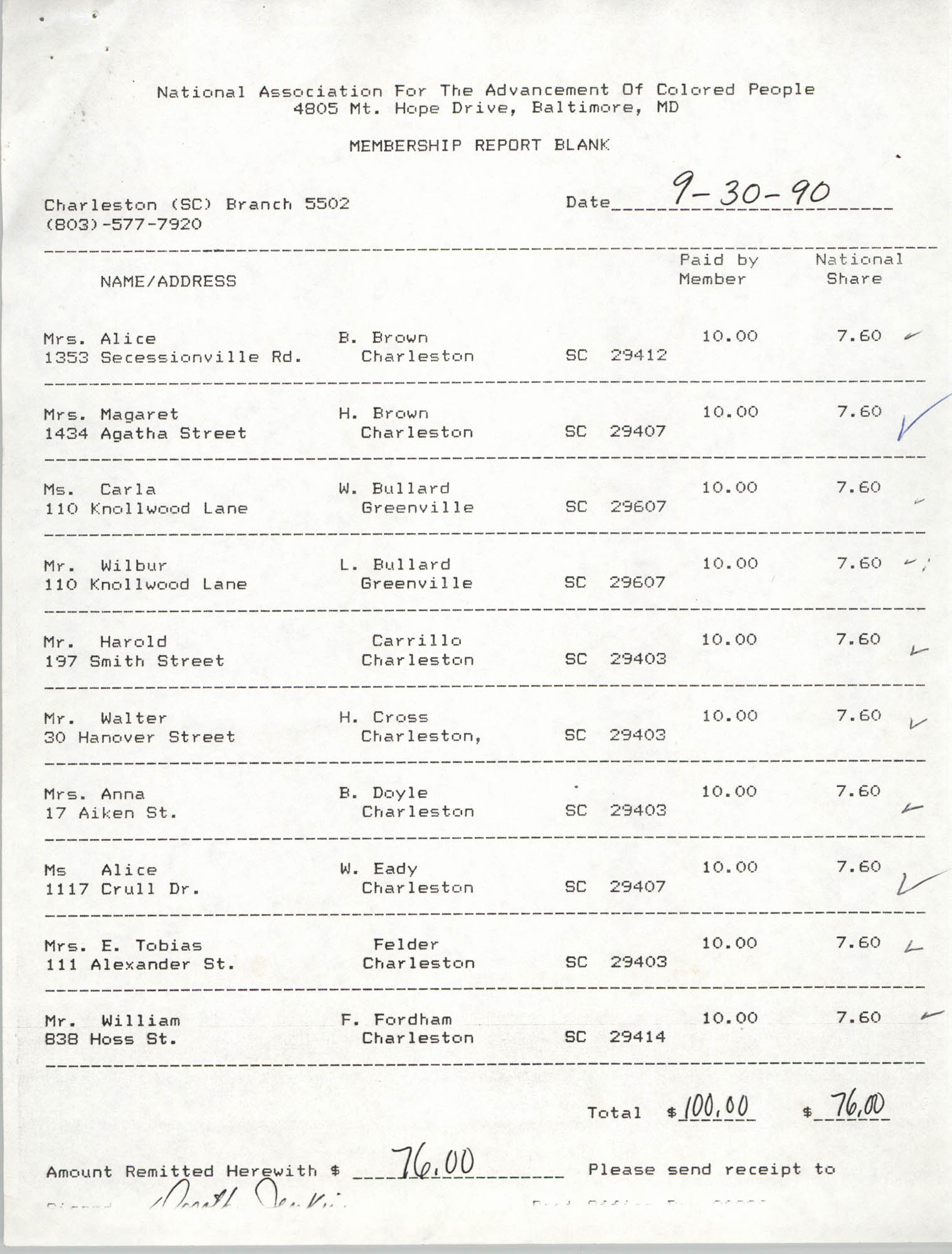Membership Report Blank, Charleston Branch of the NAACP, Dorothy Jenkins, September 30, 1990