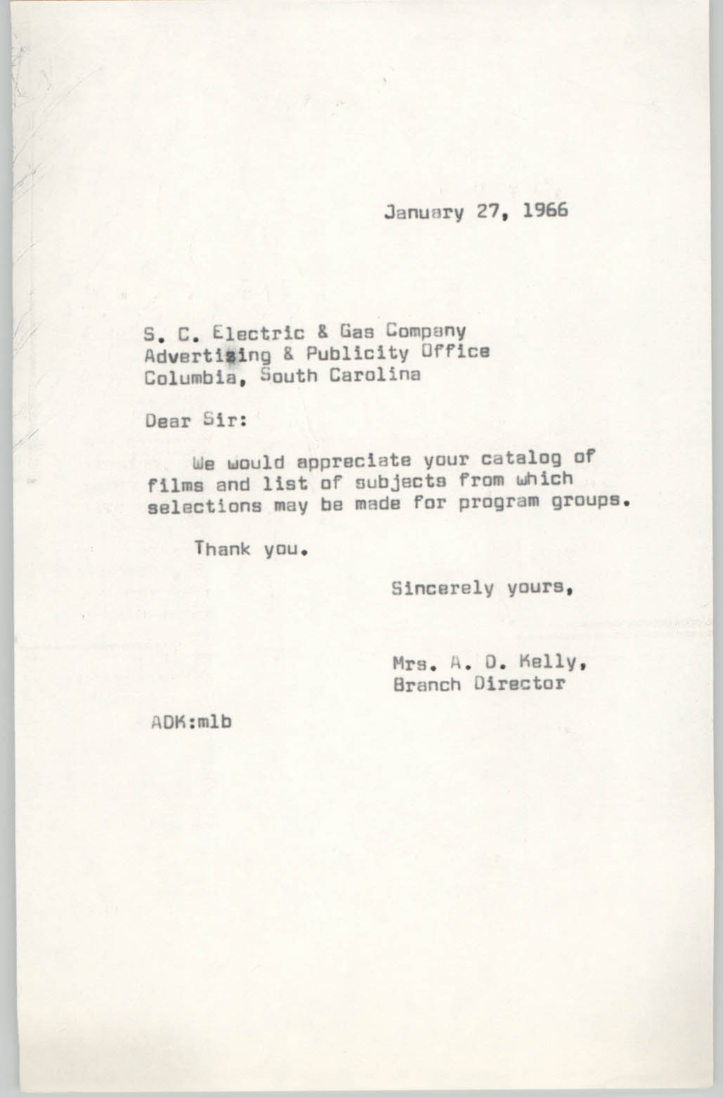 Letter from Anna D. Kelly to S. C. Electric and Gas Company, January 27, 1966