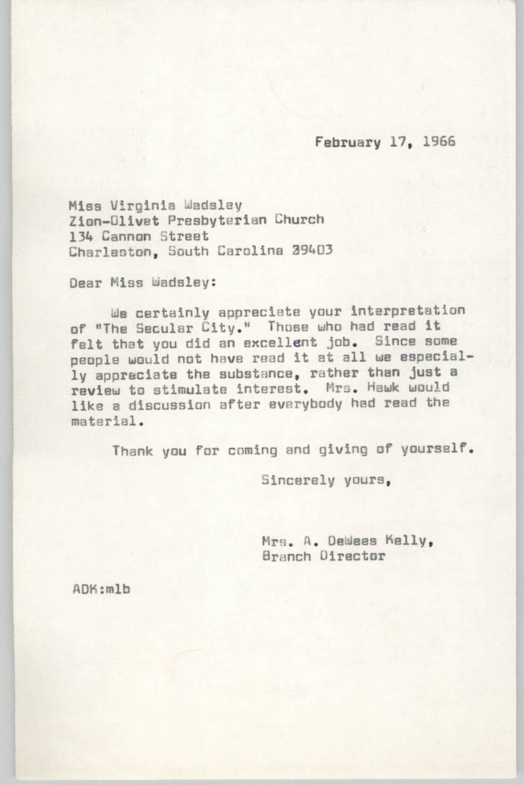 Letter from Anna D. Kelly to William F. Kelly, February 17, 1966
