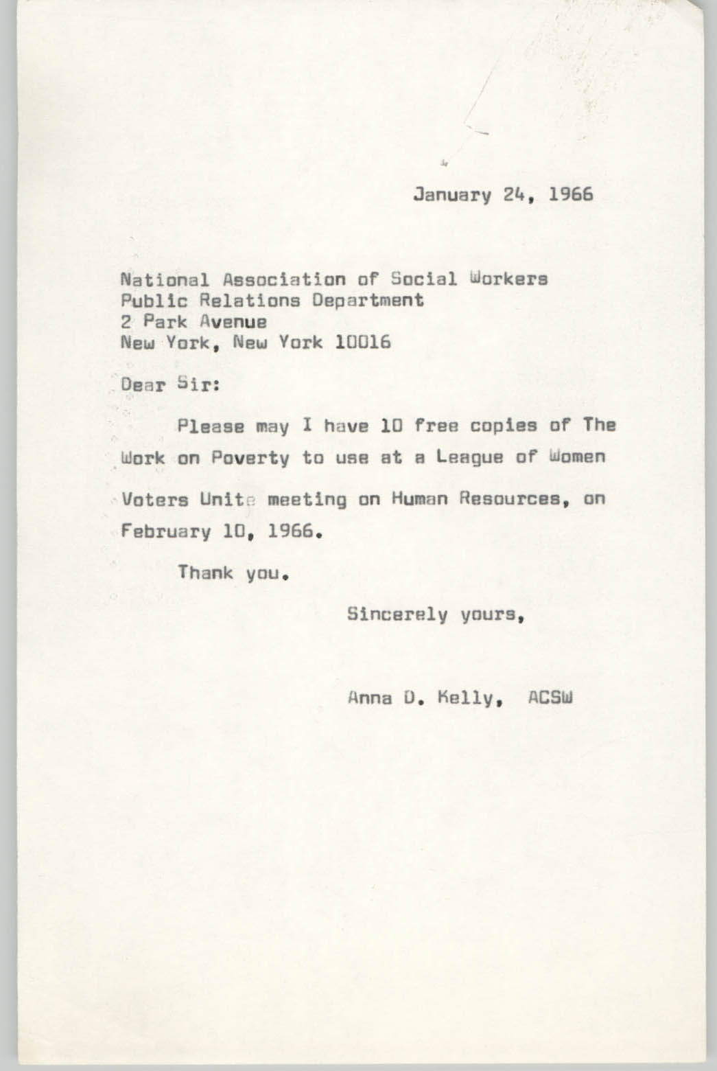 Letter from Anna D. Kelly to National Association of Social Workers, January 24, 1966