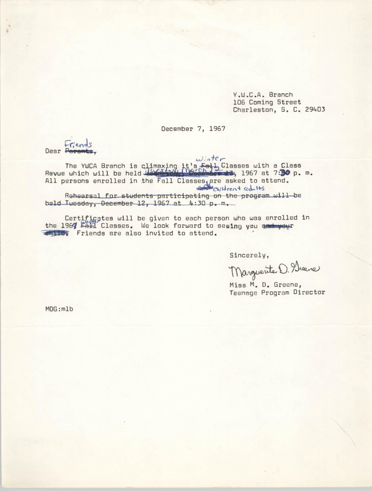 Letter from Marguerite D. Greene, December 7, 1967