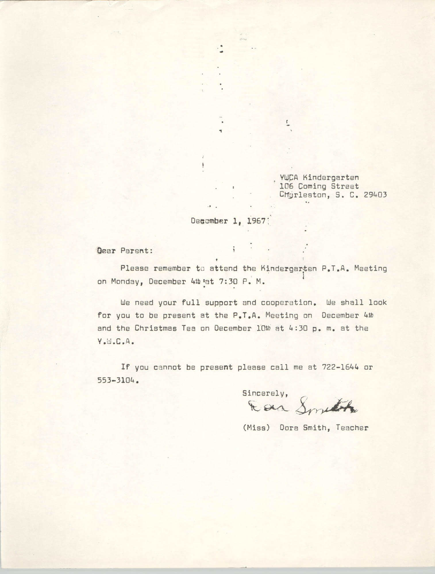 Letter from Dora Smith to Parents, December 1, 1967