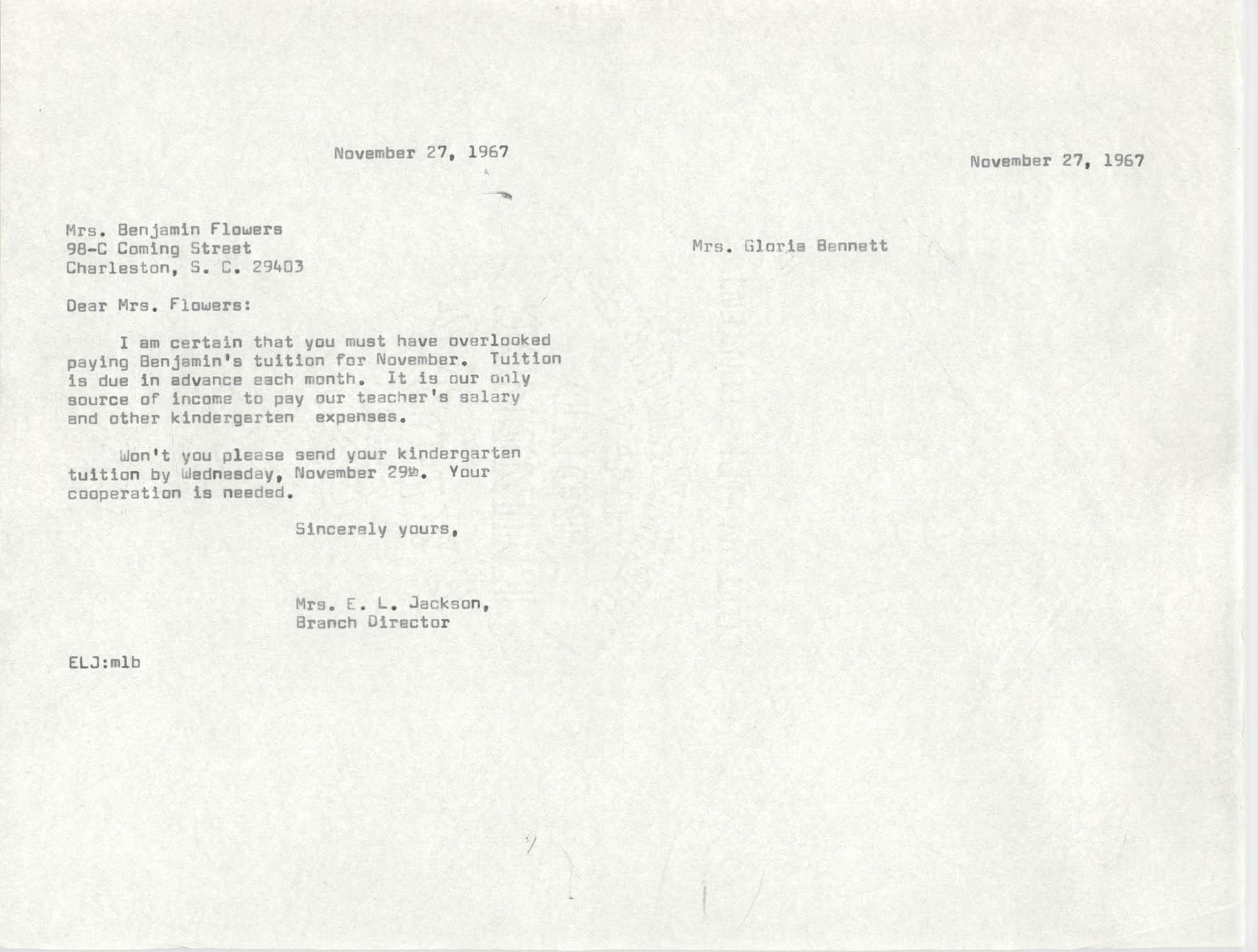 Letter from Christine O. Jackson to Mrs. Benjamin Flowers, November 27, 1967