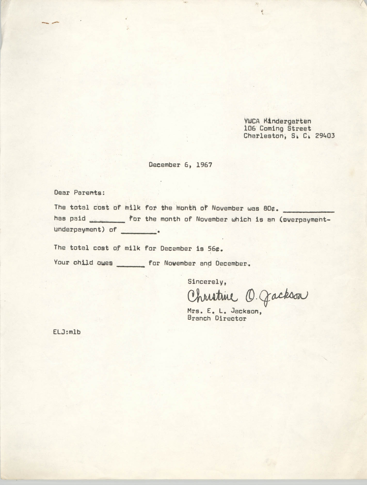 Letter from Christine O. Jackson to Parents, December 6, 1967