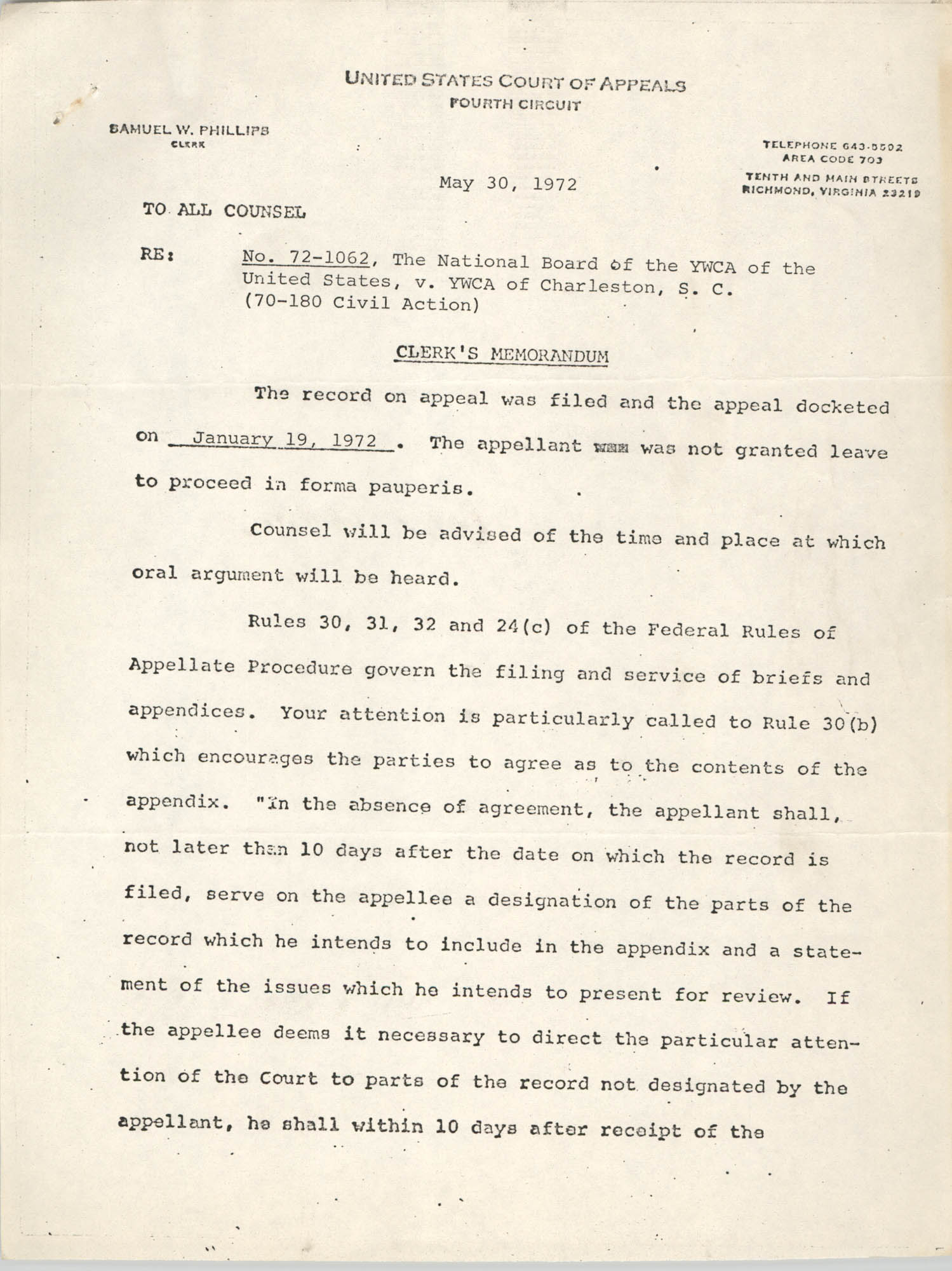 United States Court of Appeals, Fourth Circuit, Clerk's Memorandum, May 30, 1972