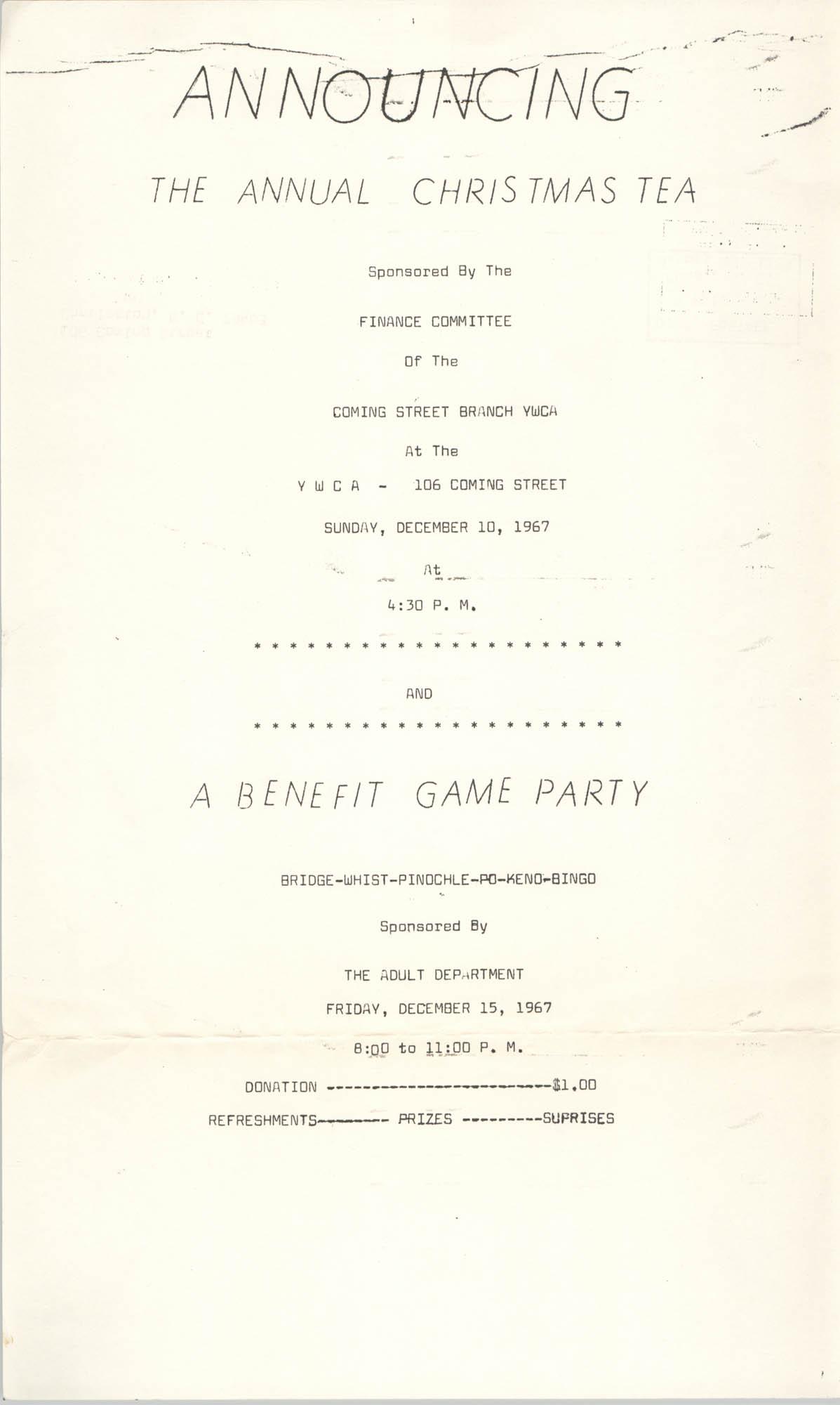 Program, Annual Christmas Tea, Coming Street Y.W.C.A., 1967