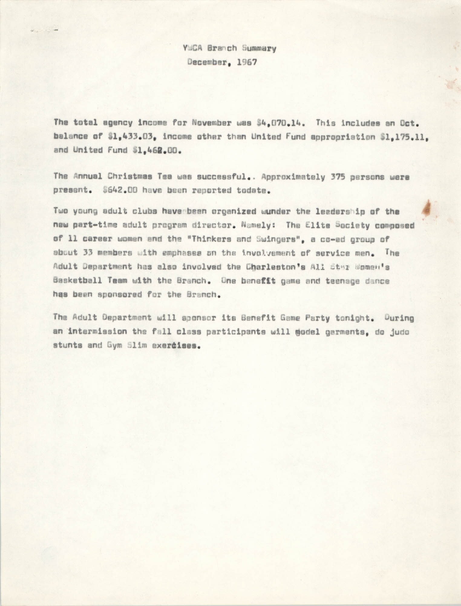 Coming Street Y.W.C.A. Summary Report, December 1967