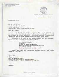 Letter from Earl B. Higgins to Dwight C. James, August 22, 1991