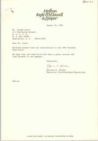 Letter from Allison R. Sterba to Joseph Grant, August 22, 1991