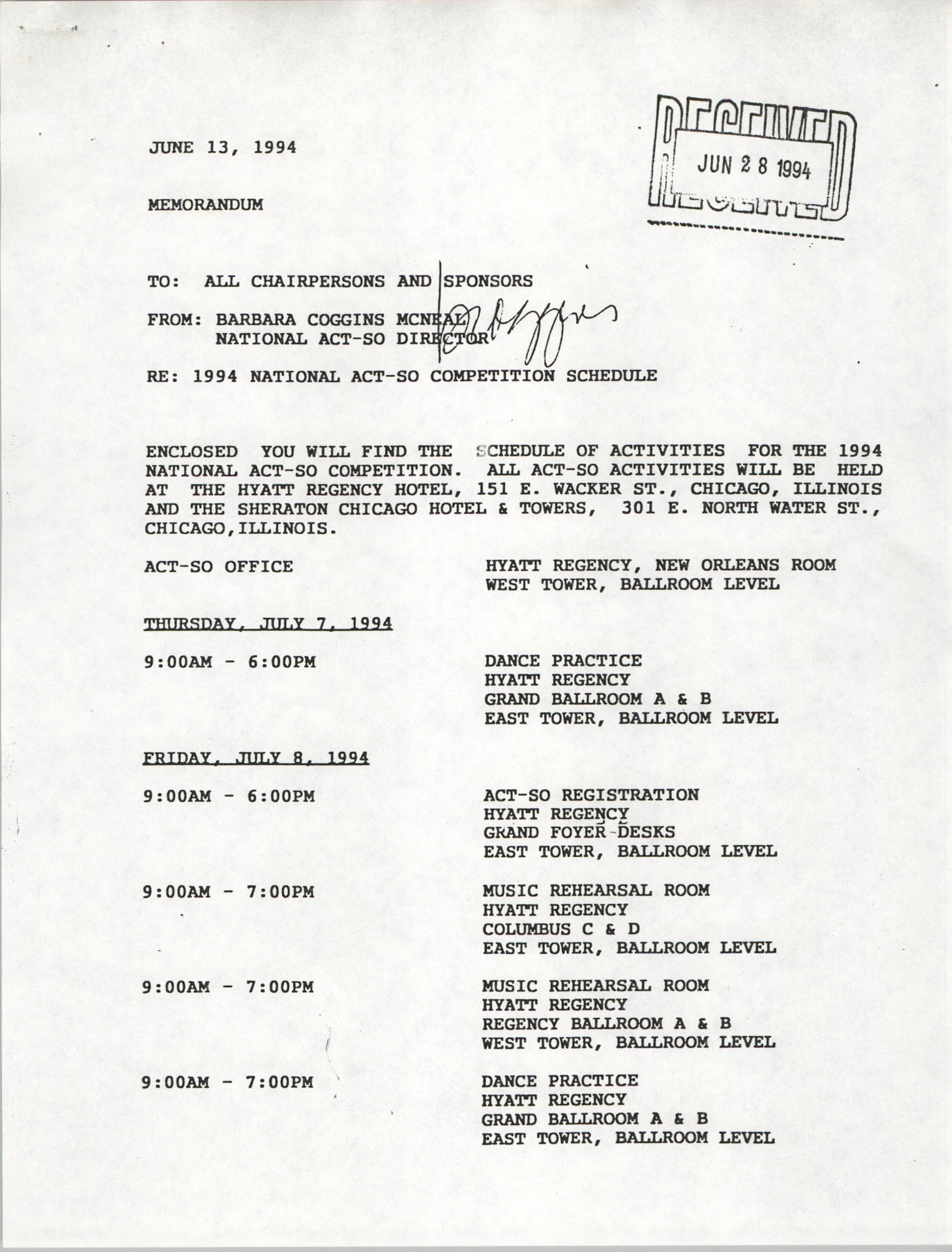 Memorandum, Barbara Coggins McNeal, June 13, 1994