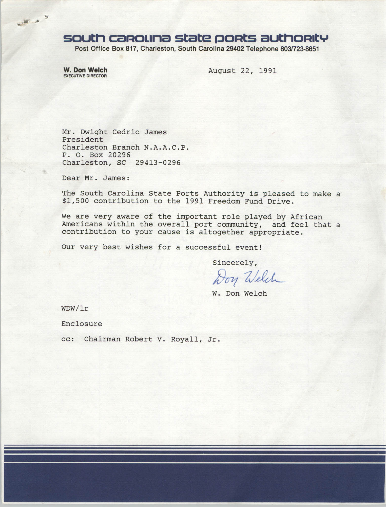 Letter from W. Don Welch to Dwight Cedric James, August 22, 1991