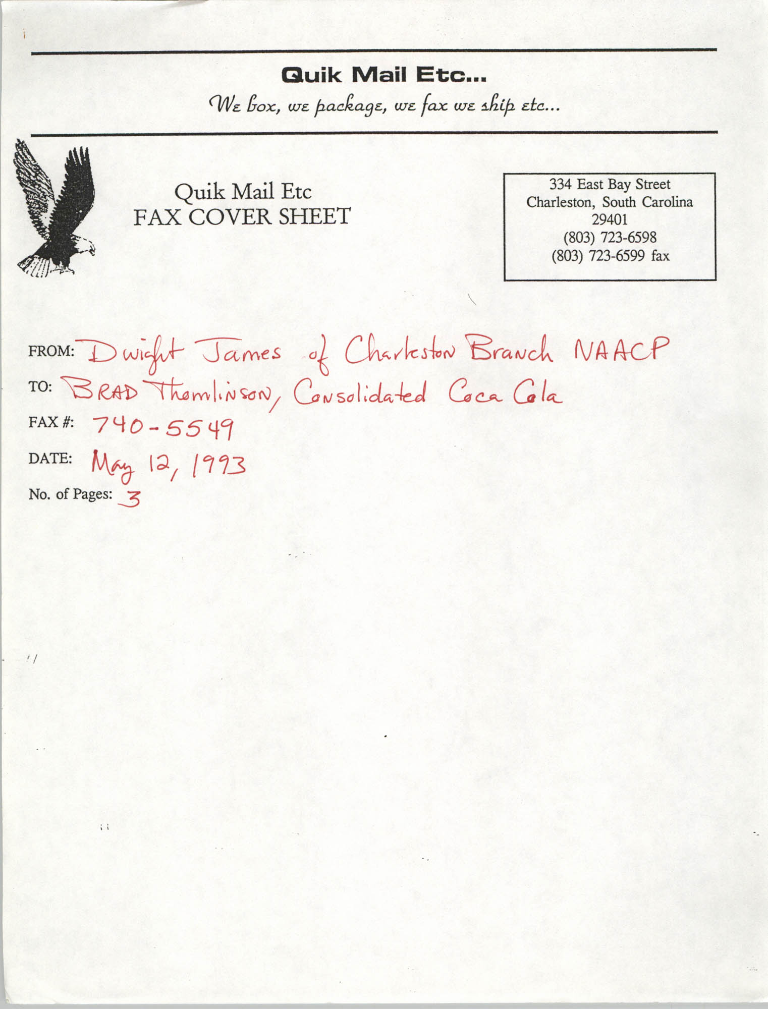 Letter from Dwight James to Brad Thomlinson, May 12, 1993