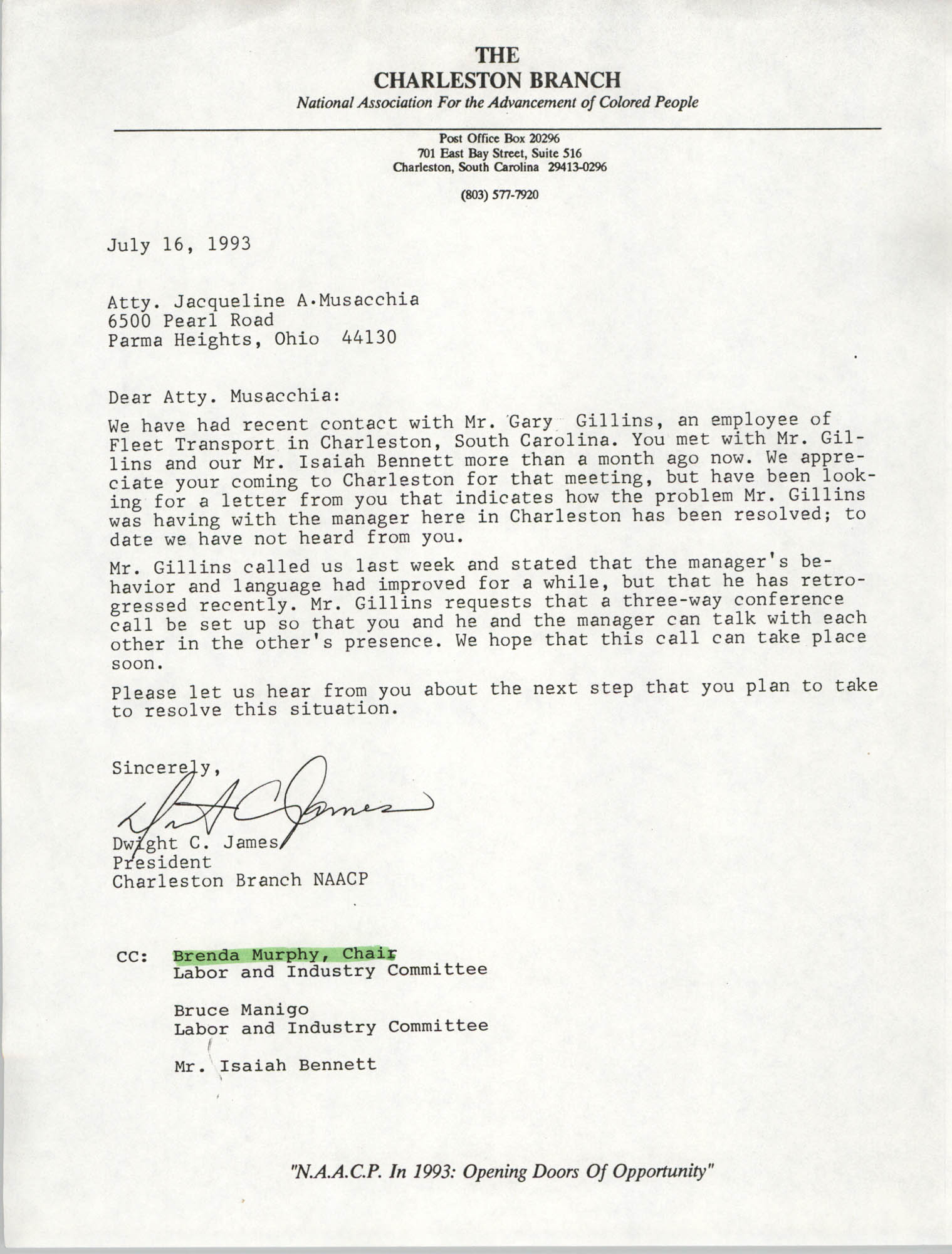 Letter from Dwight C. James to Jacqueline A. Musacchia, July 16, 1993