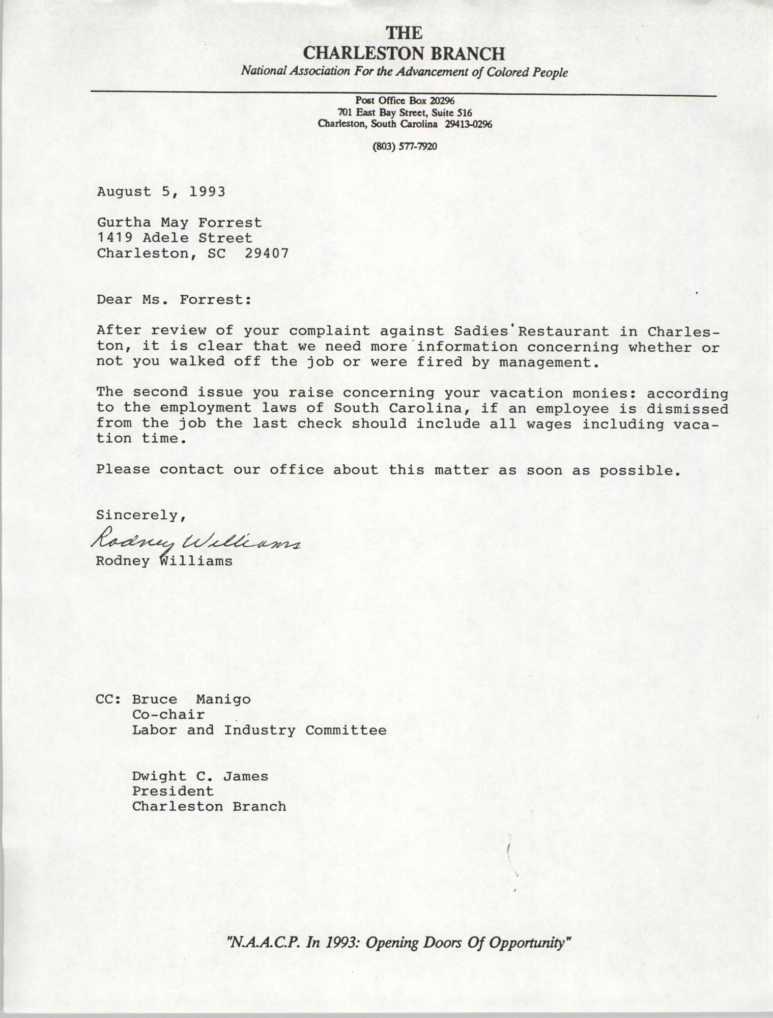 Letter from Rodney Williams to Gurtha May Forrest, August 5, 1993