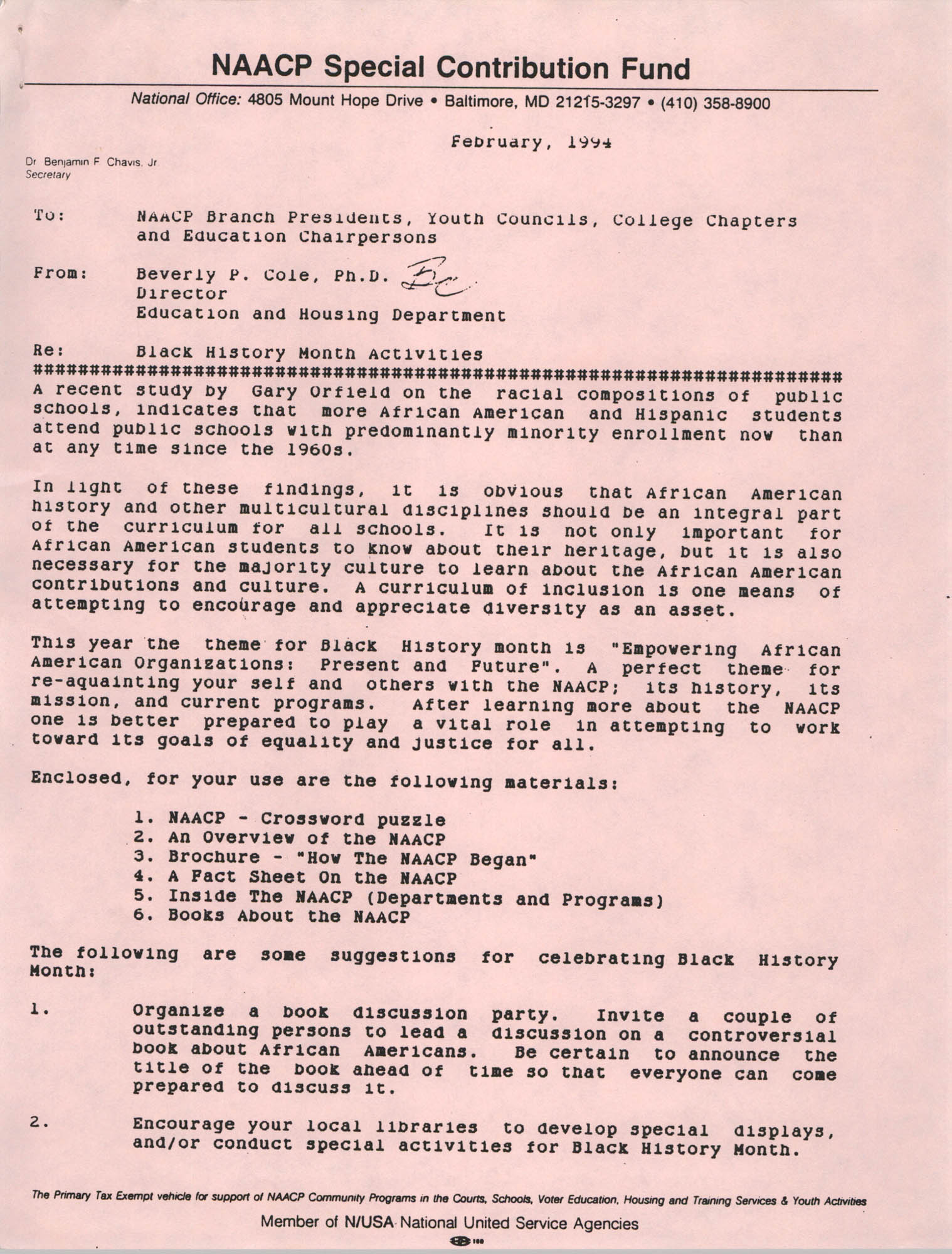 Memorandum, Beverly P. Cole, February 1994