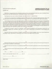 Owners Affidavit as to Non-Existence of Liens, Bankers First Mortgage Corporation/Bankers First Federal Savings & Loan Association