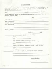 Tax Certification Form, Bankers First Mortgage Corporation