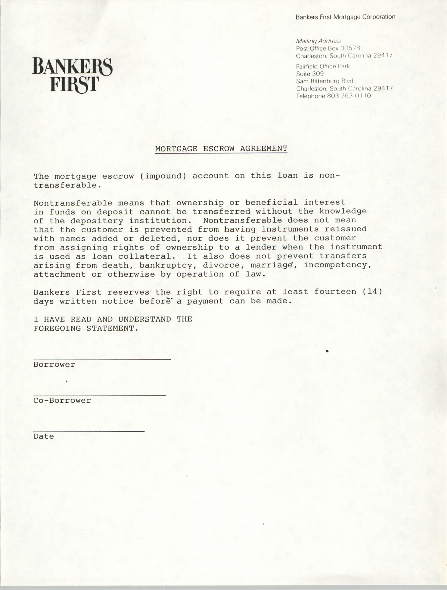 Mortgage Escrow Agreement, Bankers First Mortgage Corporation