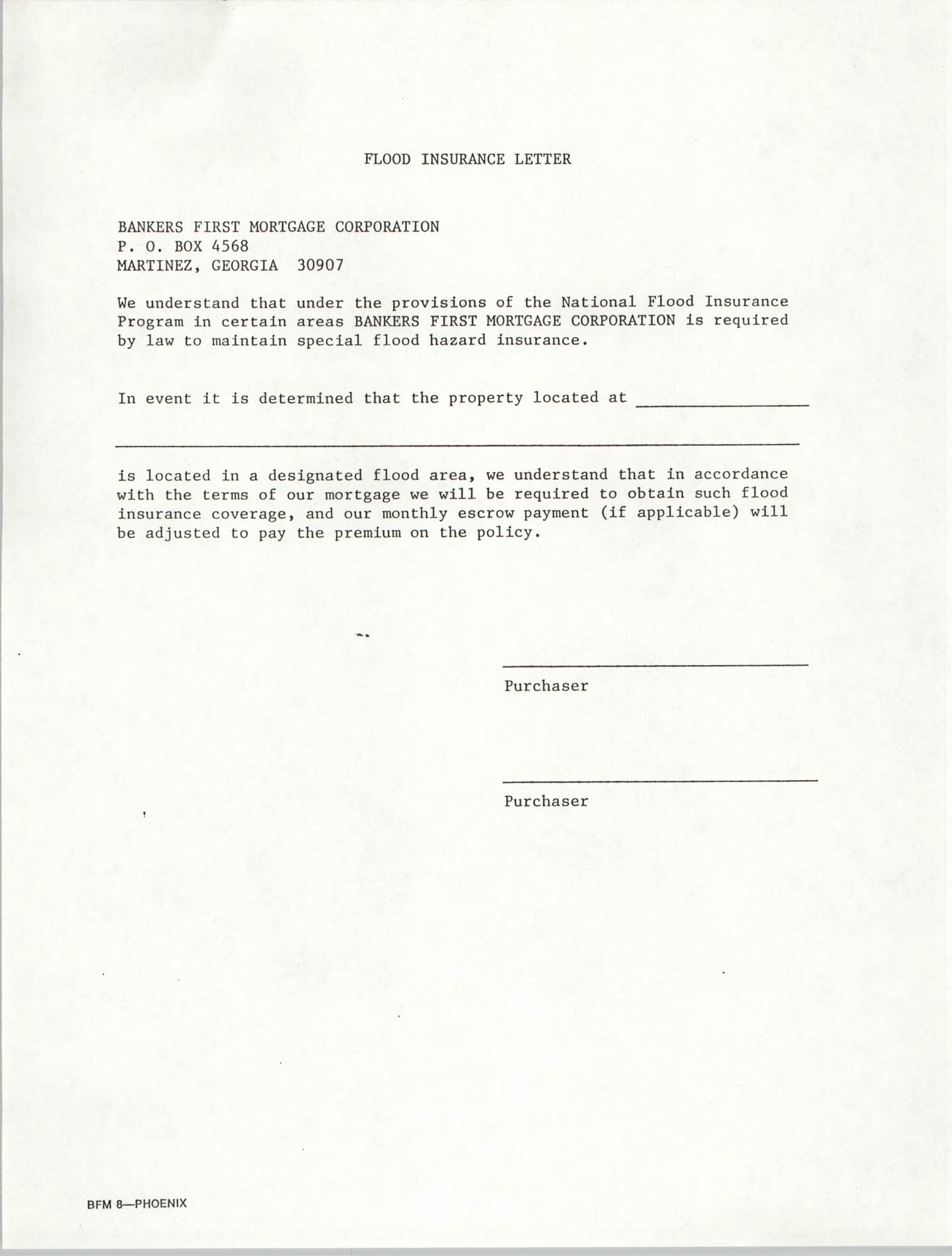 Flood Insurance Letter, Bankers First Mortgage Corporation