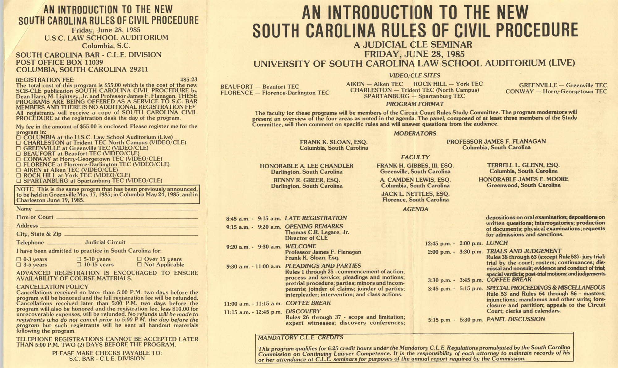 An Introduction to the New South Carolina Rules of Civil Procedure, Continuing Judicial Education Seminar, June 28, 1985
