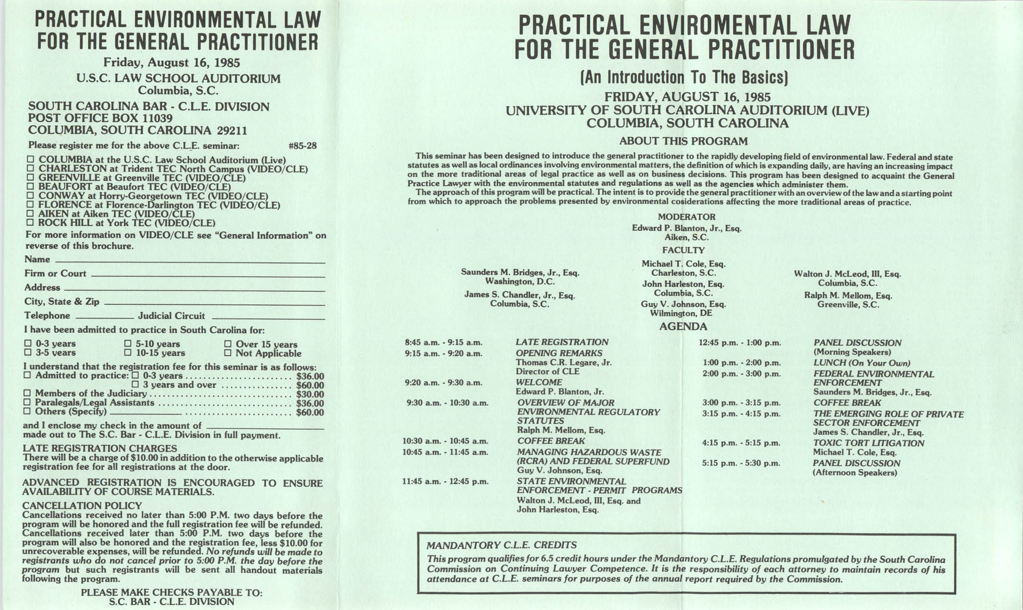 Practical Environmental Law for the General Practitioner, Video/CLE Seminar Pamphlet, August 16, 1985